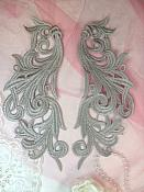 """Embroidered Appliques Grey Scroll Design Mirror Pair Motifs Patch 9"""" (GB490X)"""