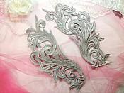 "Embroidered Appliques Grey Scroll Design Mirror Pair Motifs Patch 9"" (GB490X)"