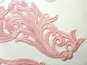 """Embroidered Appliques Light Pink Scroll Design Mirror Pair Motifs Patch 9"""" (GB490X)"""