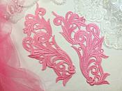 "Embroidered Appliques Pink Scroll Design Mirror Pair Motifs Patch 9"" (GB490X)"