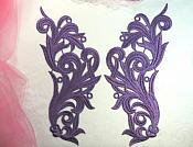 "Embroidered Appliques Purple Scroll Design Mirror Pair Motifs Patch 9"" (GB490X)"