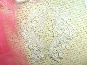 """Embroidered Appliques White Scroll Design Mirror Pair Motifs Patch 9"""" (GB490X)"""