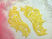"Embroidered Appliques Yellow Scroll Design Mirror Pair Motifs Patch 9"" (GB490X)"