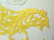"""Embroidered Appliques Yellow Scroll Design Mirror Pair Motifs Patch 9"""" (GB490X)"""