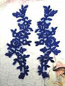 """Blue Floral Appliques Venise Lace Mirror Pair Dance Motif Costume Patch 10"""" (GB491X)"""