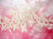 """Ivory Floral Appliques Venise Lace Mirror Pair Dance Motif Costume Patch 10"""" (GB491X)"""
