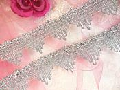 """Silver Trim Metallic Victorian Edging for Sewing and Crafts DIY 1.5"""" (GB499)"""