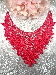 "GB50 Fuchsia Floral Collar Yoke Bodice Embroidered Flower Applique 7.5"""