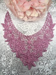 GB50 Mauve Floral Collar Yoke Bodice Embroidered Flower Applique 7.5""