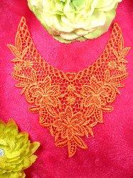 "GB50 Orange Floral Collar Yoke Bodice Embroidered Flower Applique 7.5"""