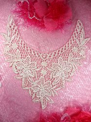 """GB50 Pale Pink Floral Collar Yoke Bodice Embroidered Flower Applique 7.5"""""""