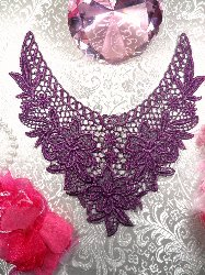 GB50 Purple Floral Collar Yoke Bodice Embroidered Flower Applique 7.5""