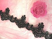 """Black Trim Sequined Victorian Trimming Embroidered Lace for Sewing  2.75"""" (GB500)"""