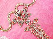 Shoe Ornament Crystal Rhinestone Applique Gold Setting Embellishment 1 piece (GB520)
