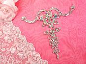 Shoe Ornament Crystal AB Aurora Borealis Rhinestone Applique Silver Embellishment 1 piece (GB520)