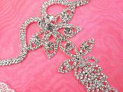 Shoe Ornament Crystal Rhinestone Applique Silver Embellishment 1 piece (GB520)