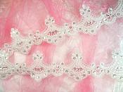 """White Bridal Trim Crystal Sequined Victorian Trimming Embroidered Lace  2.75"""" (GB500)"""