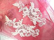 "Sequined Lace Embroidered Appliques White Crystal Mirror Pair Floral Ballet Motifs 9.75"" (GB501X)"