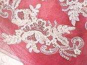 "LEFT SIDE ONLY Sequined Lace Embroidered Appliques White Crystal Mirror Pair Floral Ballet Motifs 9.75"" (OSGB501X)"