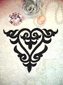"""Embroidered Applique Black Iron On Patch DIY Clothing Designs 7"""" (GB502)"""