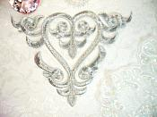 """Embroidered Applique Silver Metallic Iron On Patch DIY Clothing Designs 7"""" (GB502)"""
