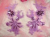 "Lavender Appliques Lace with Sequins Mirror Pair 8.5"" (GB504X)"
