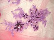"Lavender Appliques Lace with Sequins Mirror Pair 8.5"" (GB504X)"