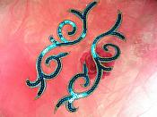 "Sequin Appliques Turquoise Gold Designer Mirror Pair Iron on 9"" (GB505X)"