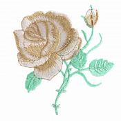 Golden Rose Embroidered Iron on Applique Clothing Patch (GB509)