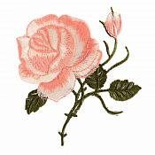 Peach Pink Rose Embroidered Iron on Applique Clothing Patch (GB509)