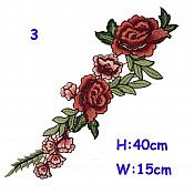Large Red Burgundy Multi-Color Rose Cluster Embroidered Applique Clothing Patch (GB512)