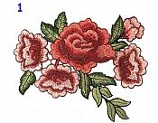 Red Burgundy Multi-Color Rose Cluster Embroidered Applique Clothing Patch (GB513)
