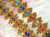 "REMNANT Acrylic Multi-colored Jeweled Trim surrounded by Gold Metallic 15"" (RMGB515)"