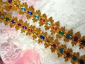 """Acrylic Multi-colored Jeweled Trim surrounded by Gold Metallic 1.75"""" (GB515)"""