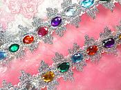 "Acrylic Multi-colored Jeweled Trim surrounded by Silver Metallic 1.75"" (GB515)"