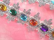 RMGB515  REDUCED Acrylic Multi-colored Jeweled Trim surrounded by Silver Metallic