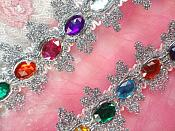 """RMGB515 30"""" REMNANT Acrylic Multi-colored Jeweled Trim surrounded by Silver Metallic"""