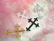 """Silver Metallic Cross Embroidered Applique Iron On Patch 3.75"""" (GB516)"""