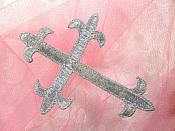 "Silver Metallic Cross Embroidered Applique Iron On Patch 3.75"" (GB516)"