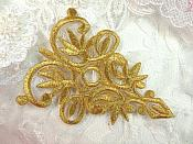 "Gold Metallic Embroidered Applique Iron On Patch 3.75"" (GB518)"