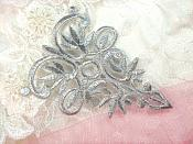 "Silver Metallic Embroidered Applique Iron On Patch 3.75"" (GB518)"