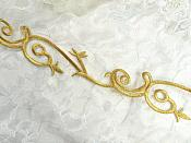 "Gold Metallic Embroidered Trim Iron On Sewing or Crafts 1.75"" (GB519)"