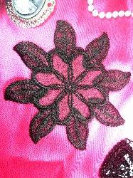 """GB52 Black Flower Venice Lace Floral Applique 5.25"""""""