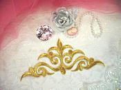 """Embroidered Applique Gold Metallic Iron On Patch DIY Clothing Designs 8"""" (GB521)"""
