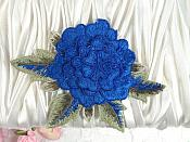 "3D Floral Applique Blue Embroidered Flower 5"" (GB522)"