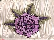 "3D Floral Applique Purple Embroidered Flower 5"" (GB522)"