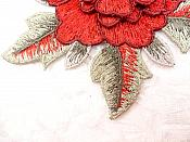 """3D Floral Applique Red Embroidered Flower W/Dark Red Edging 5"""" (GB522)"""