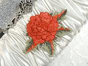 """3D Floral Applique Red Embroidered Flower 5"""" (GB522)"""