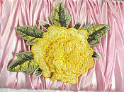"""3D Floral Applique Yellow Embroidered Flower 5"""" (GB522)"""