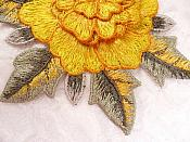 """3D Floral Applique Yellow Embroidered Flower W/Dark Yellow Edging 5"""" (GB522)"""